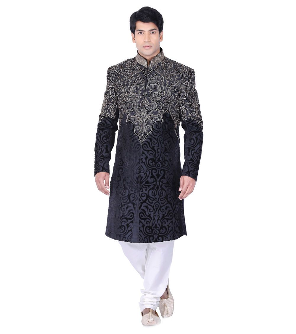 Black beige embroidered silk longcoat indianroots tessuti