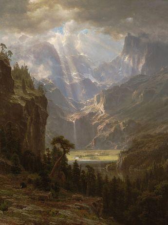 Read the full title Albert Bierstadt, Landscape Painting Fine Art Print, Rocky Mountains Lander's Peak, Nature Home Decor, Vintage Mountain Painting