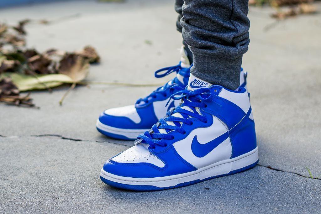 1999 Nike Dunk High LE Kentucky On Feet
