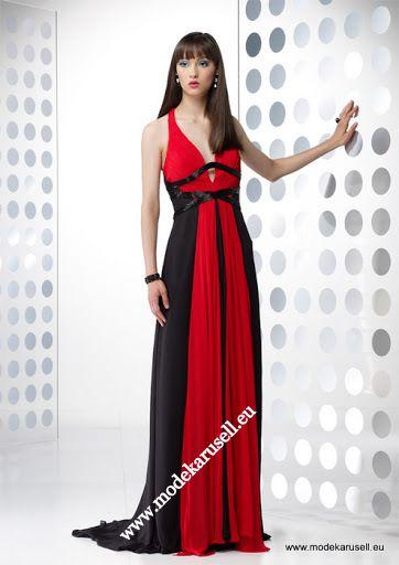 Abendkleider lang schwarz rot