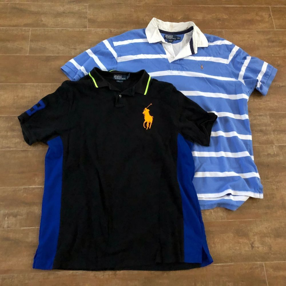 e9c92c56d7c05d 2XL Men Ralph Lauren Polo shirt lot of 2 classic big pony pull over 2X   RalphLauren  polo