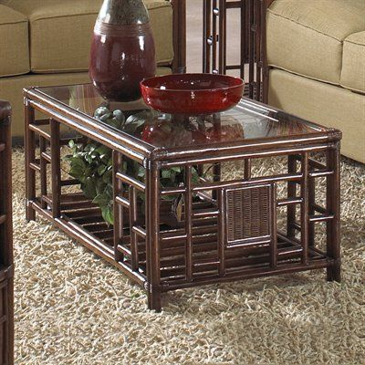 Hospitality Rattan 816-1420-ATQ-CT Padre Island Rattan and Wicker Coffee Table with Glass Top - Home Furniture Showroom