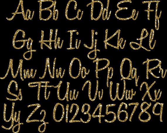 Gold Glitter Alphabet Clipart: Glitter Alphabet Clip Art, Gold