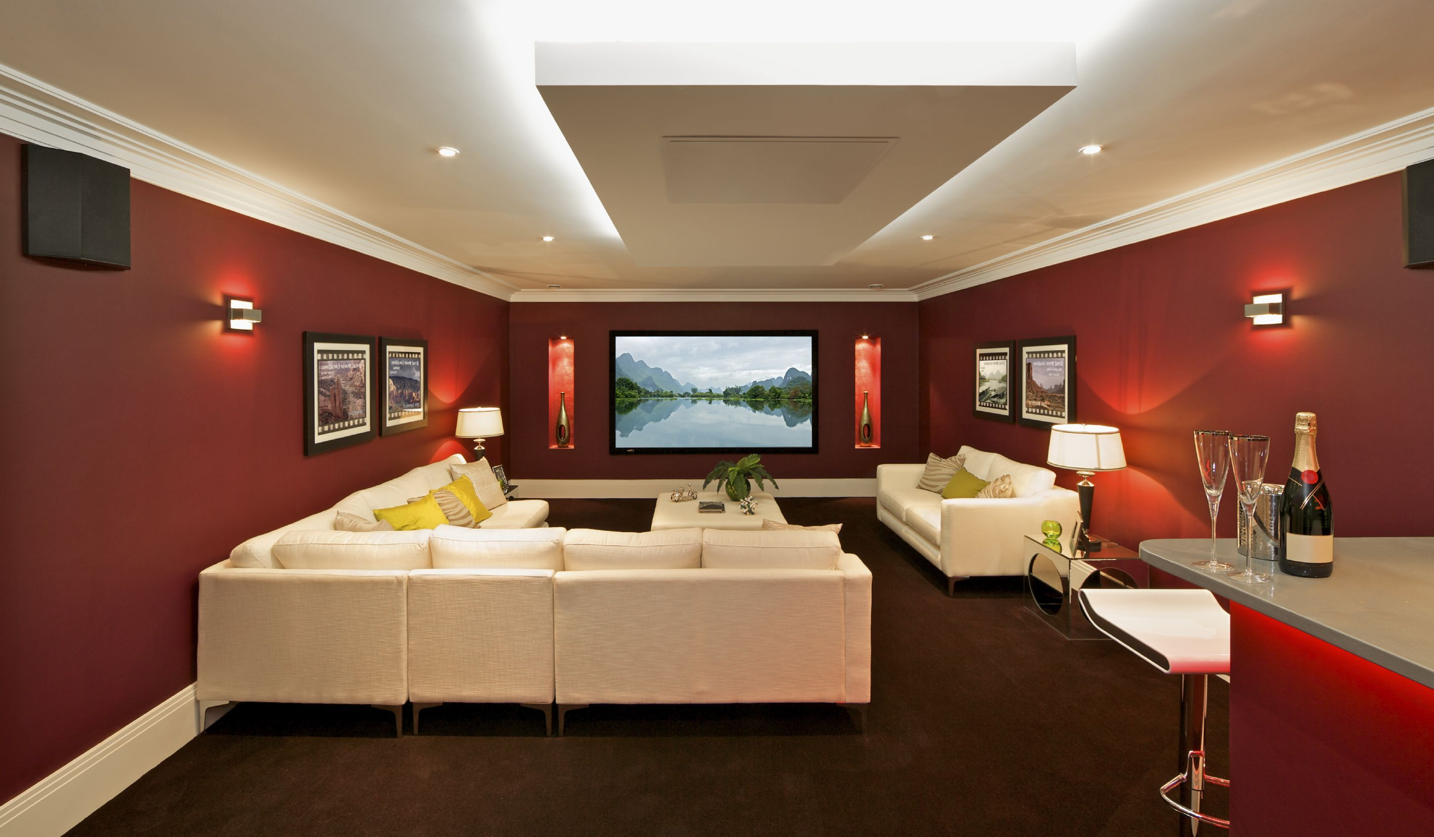Home Theater Sectional Red Living Room With Sconces Decorations Amazing Red Living Room Designs Decorating Design