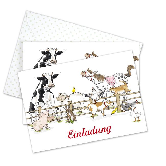 Susse Einladungskarte Mit Kuh Schwein Pony Und Hund Perfekt Um