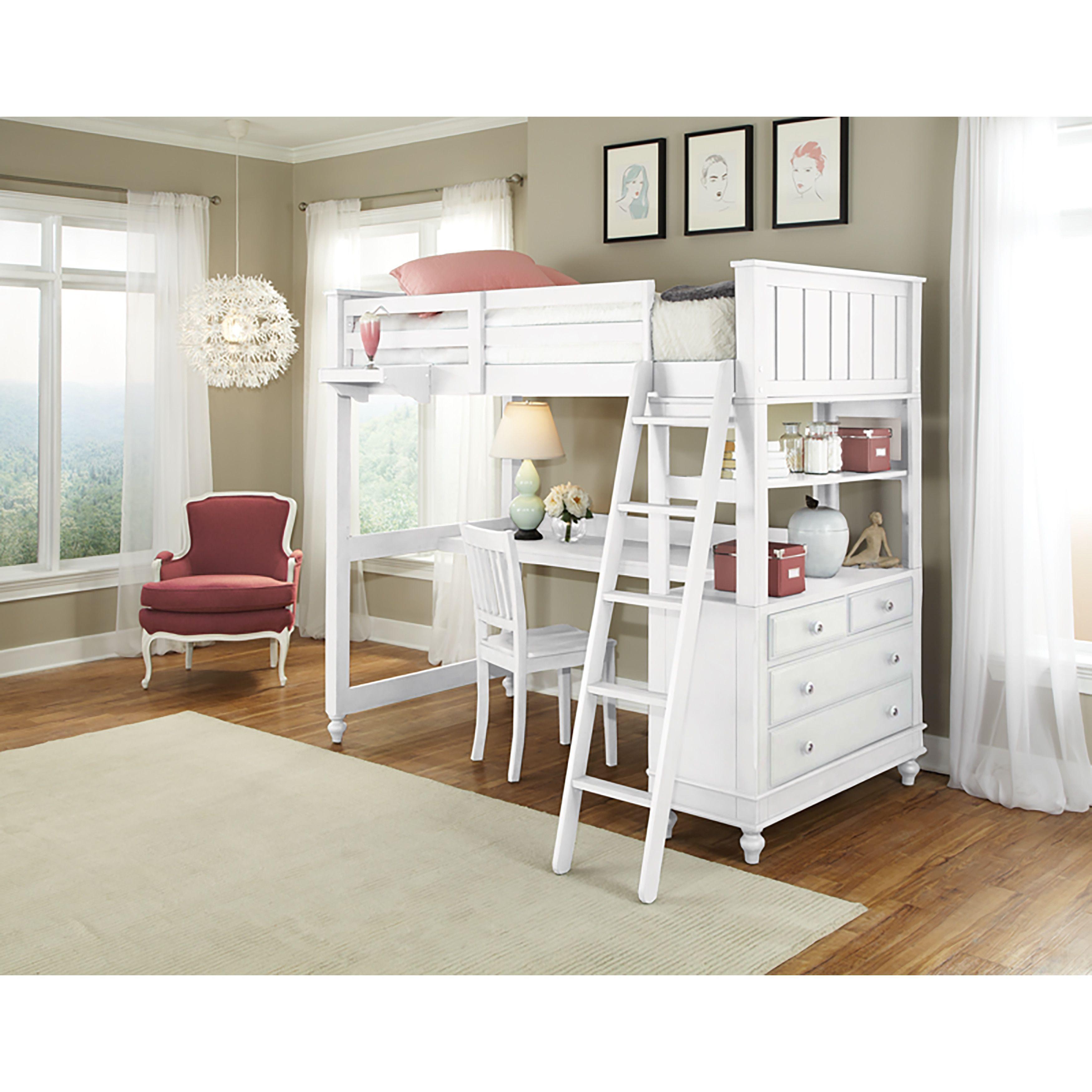 Lake House Twin Loft W/ White Desk Twin size loft bed