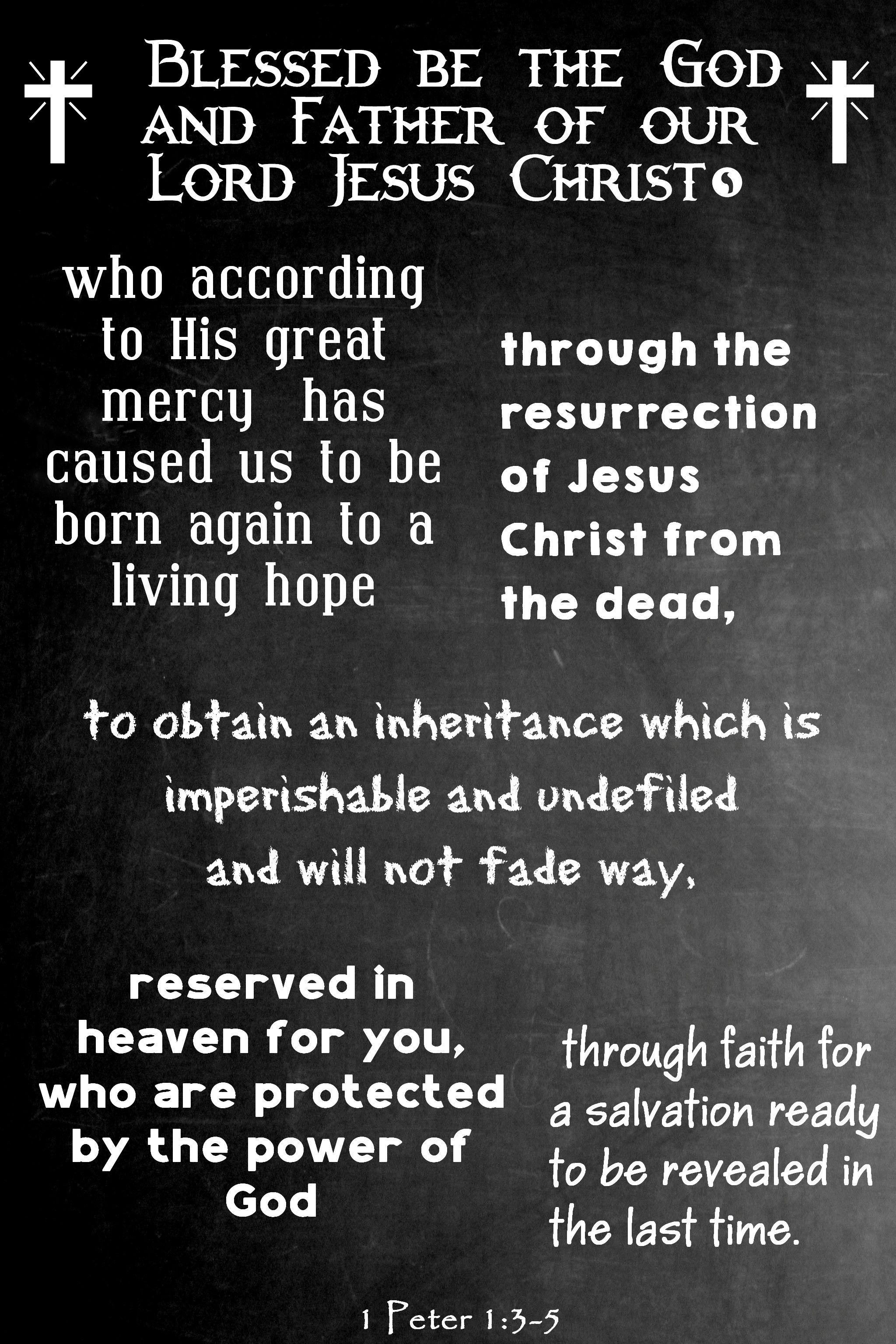 A Living Hope 1 Peter 135 Chalkboard scripture, Word