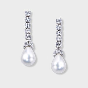 High Quality Cubic Zirconia Dressy Earrings Feature A Strand Of Five Brilliant Round 0 33 Carat Each With Two Marquise And One Simulated Pearl On The