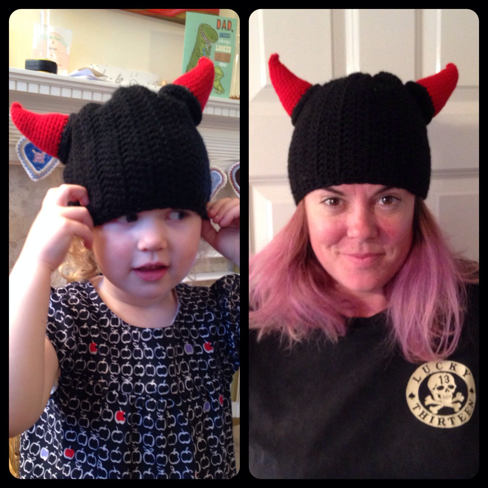 Devil horn hat. This hat was made for a friend to wear on chilly nights at a music festival. It's modelled here by both her and my daughter. Who wears it best? :-)  The hat pattern is 'Colour Pop Hat' by Tara Murray, Mamachee on Etsy. The horns are from her Viking hat pattern. Check out her fantastic blog for both free and paid for patterns. http://mamachee.com/blog/