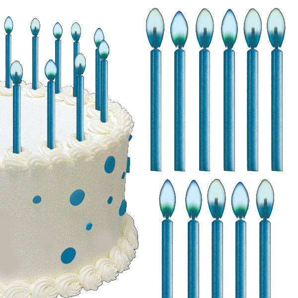 Blue Flame Birthday Cake Candles 12