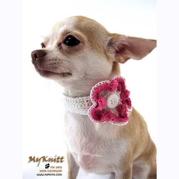 Pink Flower Handmade Crochet Dog Necklace Choker Collar By Myknitt