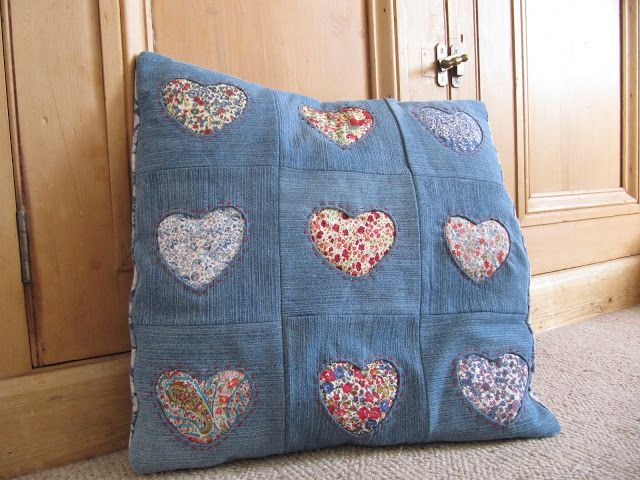 Denim Reverse Applique Pillow Cover - at last I know what to do with those fabric scraps and old jeans.