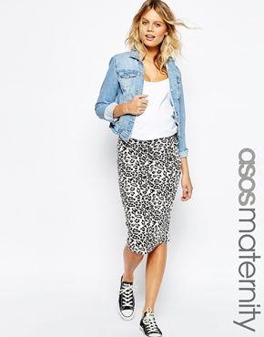 9bd784162a4 ASOS Maternity Midi Skirt in Leopard Print