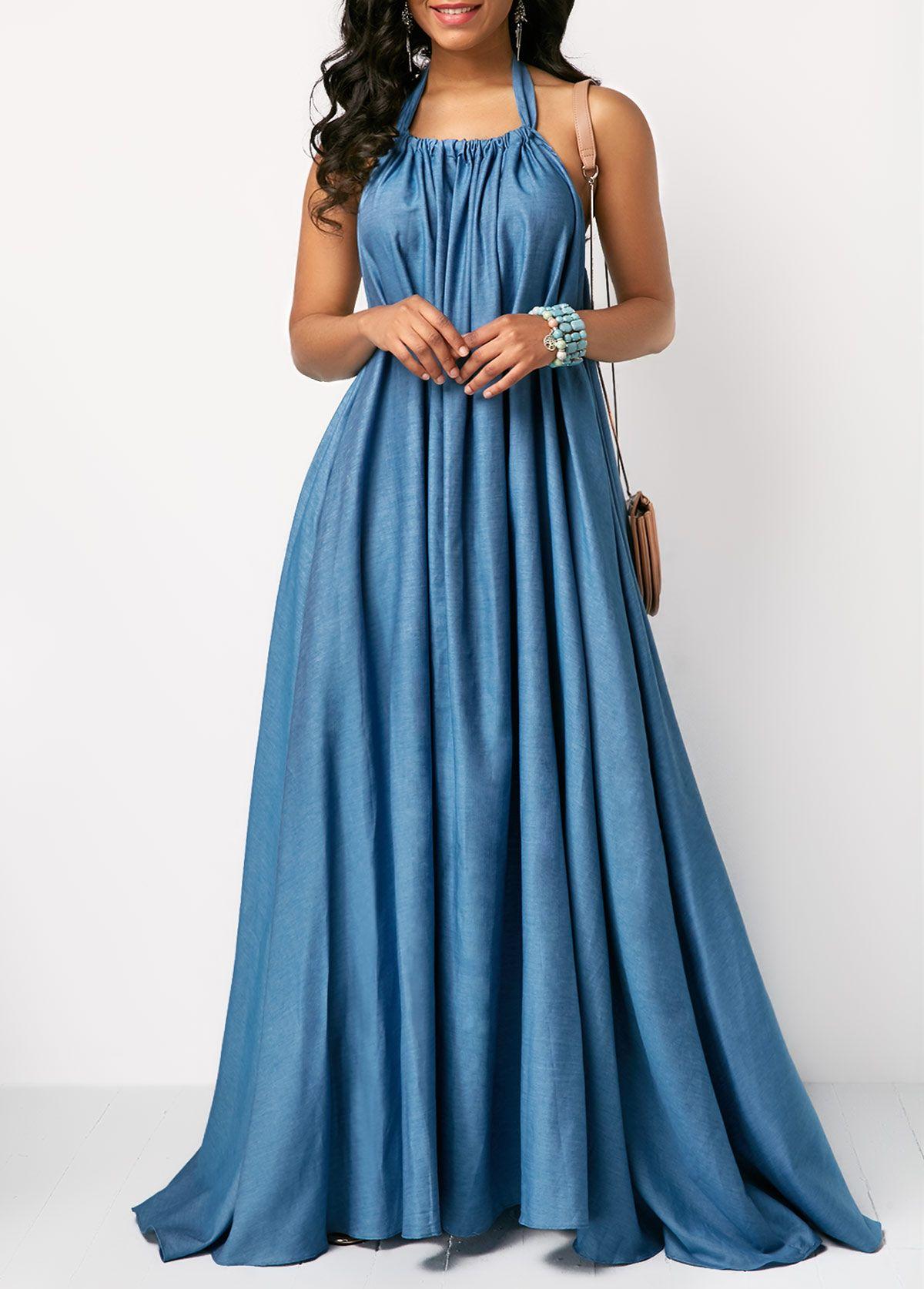 7c267830dd Solid Blue Open Back Maxi Dress   Rosewe.com - USD $36.63   clothing ...