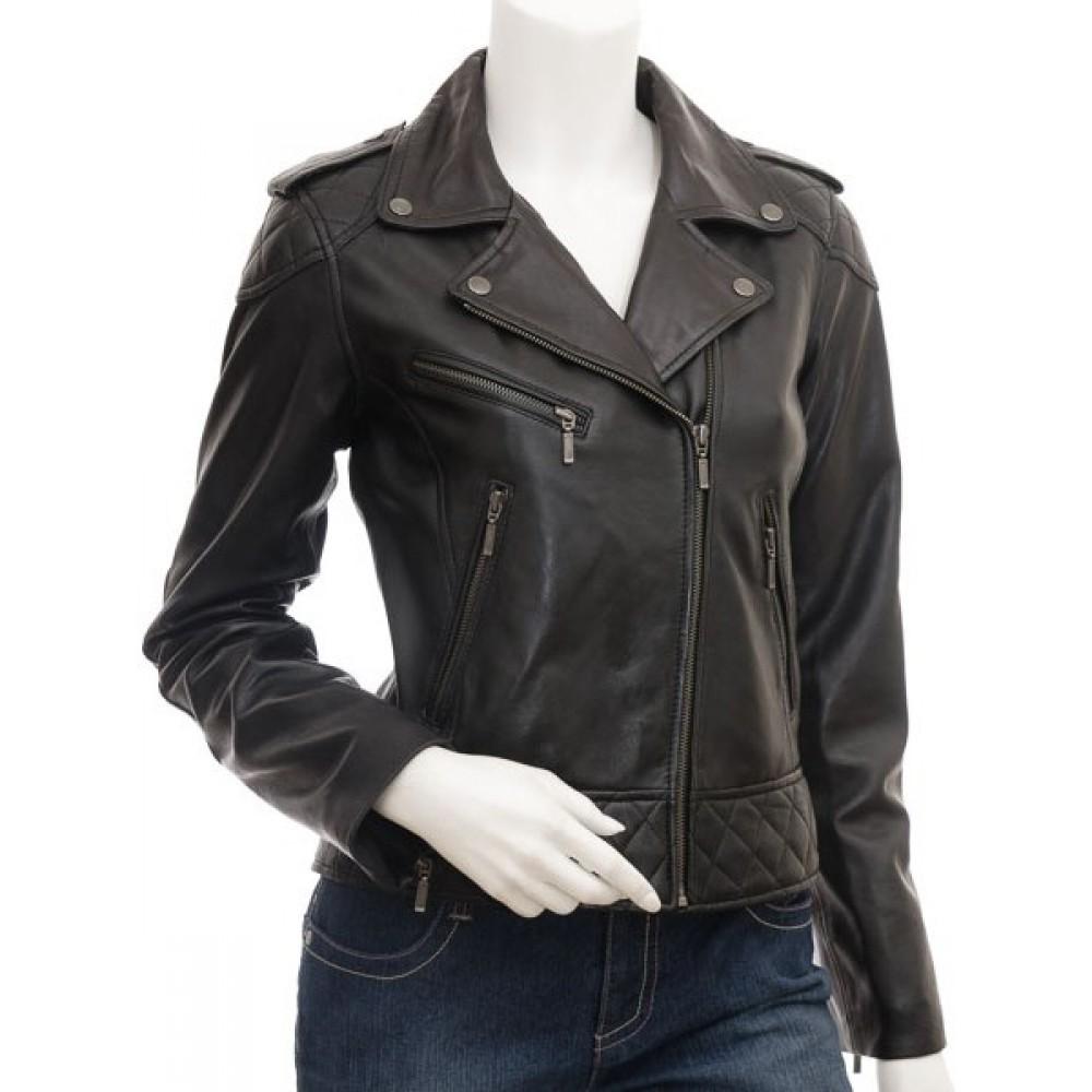 Dulce Women S Genuine Leather Biker Jacket Leather Jackets Women Stylish Leather Jacket Leather Jacket [ 1000 x 1000 Pixel ]