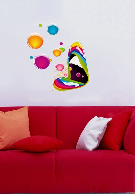 Artistic Mouth Design Color Music Full Color Wall Decal Vinyl Decor Art Sticker Removable Mural Modern B203