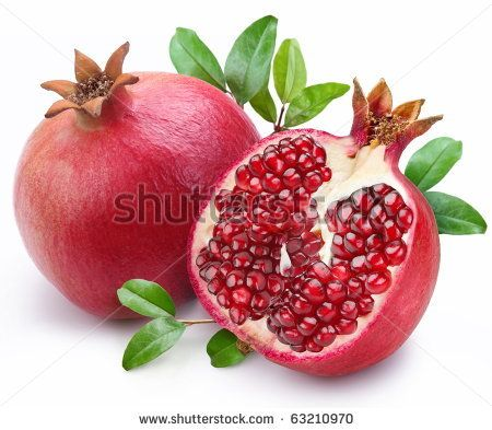 stock photo juicy pomegranate and its half with leaves isolated on a white background. Black Bedroom Furniture Sets. Home Design Ideas