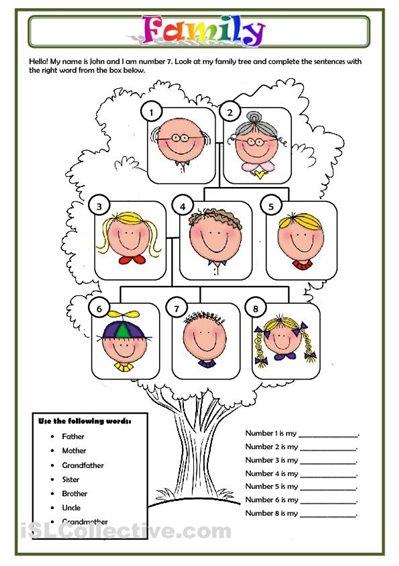 family worksheet free esl printable worksheets made by teachers englanti pinterest. Black Bedroom Furniture Sets. Home Design Ideas