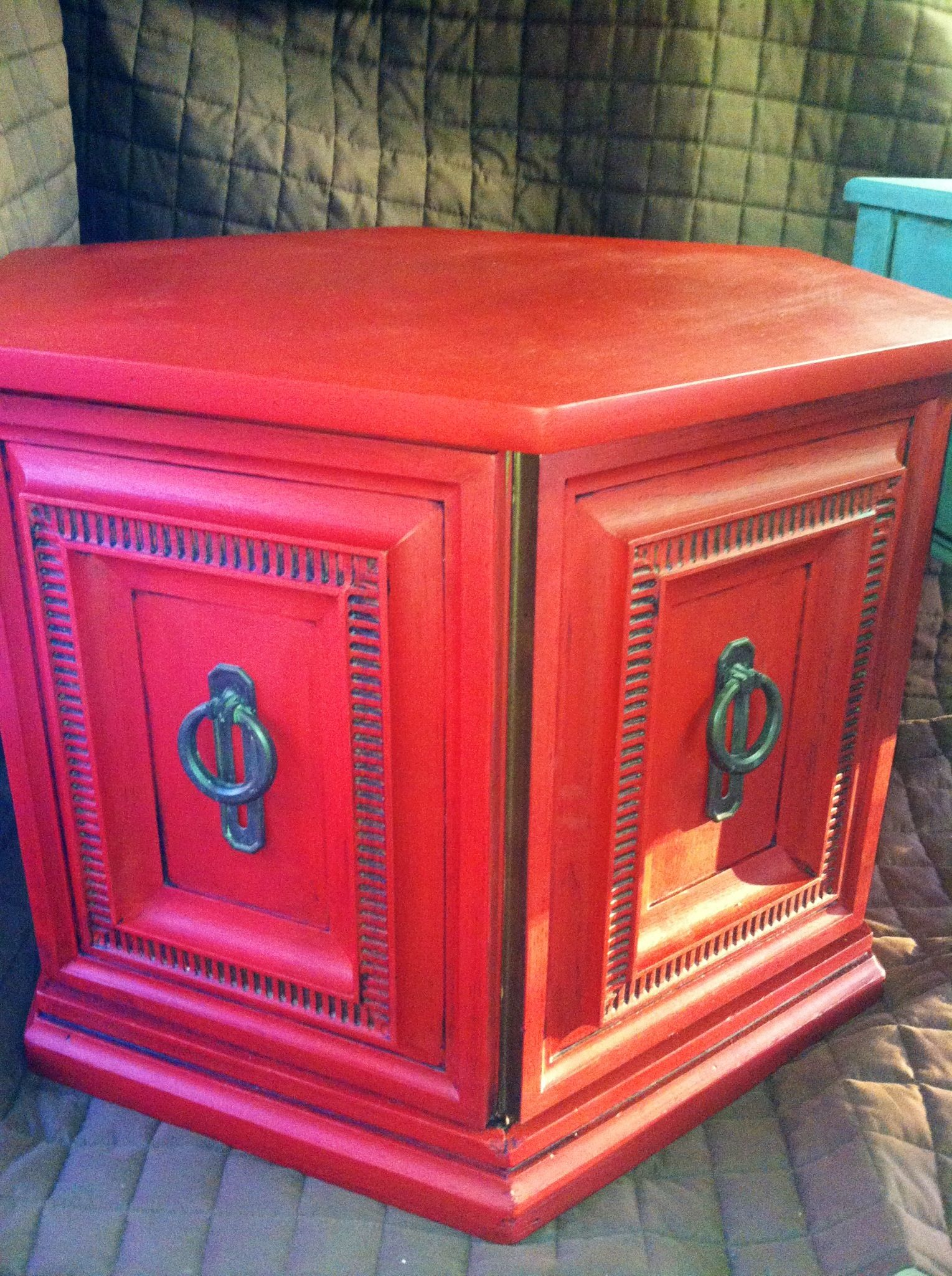 SOLD Emperors Silk Red Hexagon End Table Storage Annie