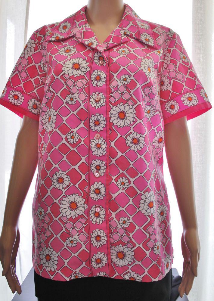 Alex Colman Women's Pink Daisy Vintage Retro Mod Short Sleeve Blouse Sz XL #AlexColman #Blouse