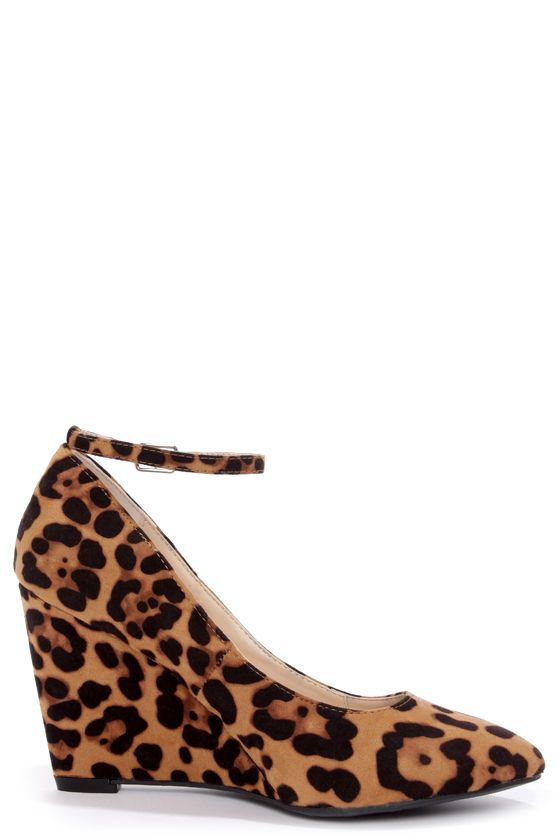 Bamboo Reya 02 Leopard Print Suede Ankle Strap Wedges | If