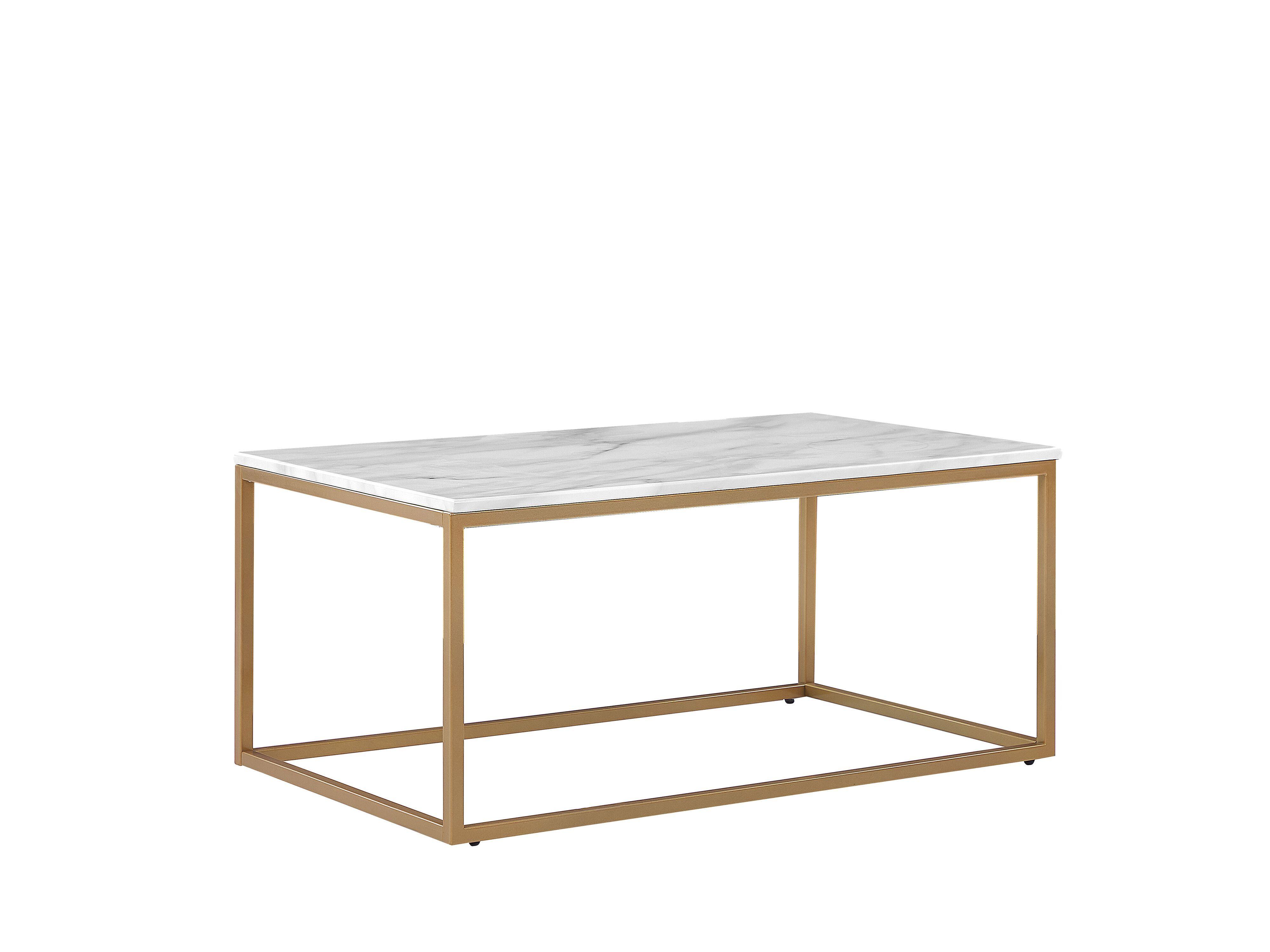 Tavolino da caffè con piano bianco ad effetto marmo e gambe oro MALIBU