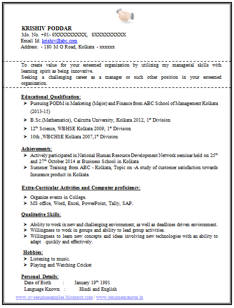 100 resume format for experienced sample template of a fresher mba and bsc student professional - Bsc Computer Science Resume Doc