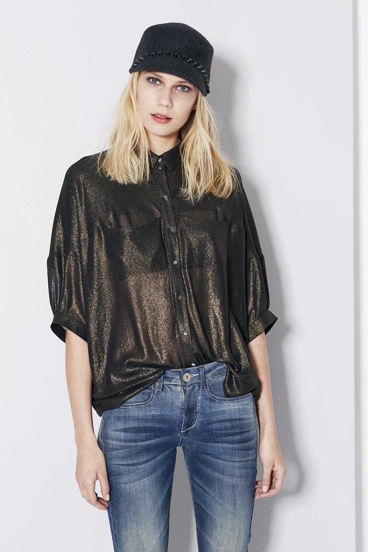 cop copine TOP BASTILLE - chemise en voile à manches courtes - coupe ample  et fluide - 2 poches à même poitrine - fermeture par boutons pressions  argent ... a36ac31e5bf