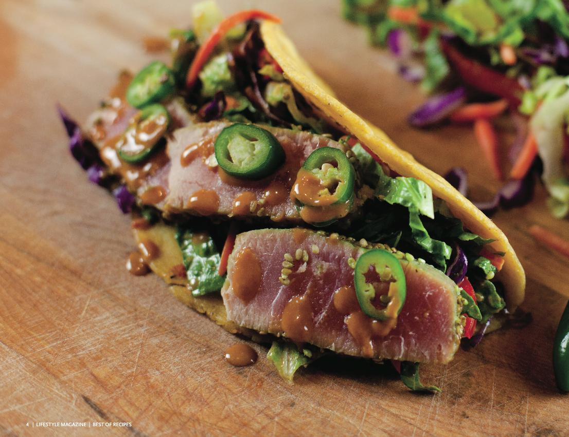 Ahi Tuna Tacos with Slaw in Peanut Dressing.  #ahi #tuna #taco #slaw #peanut #visalia #lifestyle #magazine #recipe