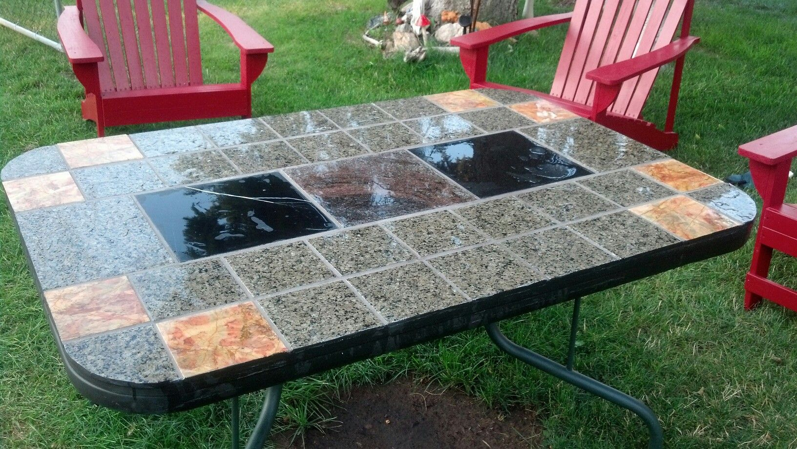 We Recycled A Patio Table That Broke Its Glass During A Wind Storm Mosaic Granite Tile Redo Outdoor Furniture Outdoor Diy Projects Diy Patio Table