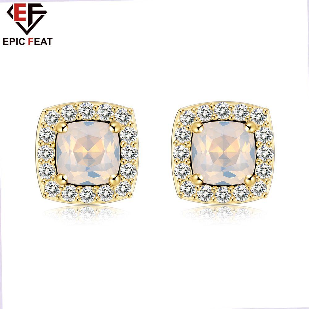 EPICFEAT Trendy Square Golden Stud Earrings for Women Beautifully ...
