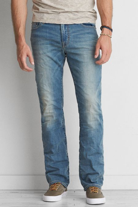 4aa03272a62 AEO Extreme Flex Original Boot Cut Jeans, Men's, Size: 42x32, Light Wash