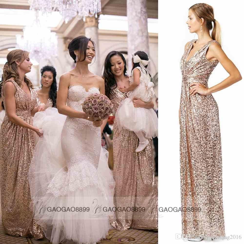 Bling Rose Gold V Neck Sequined Maid Of Honor Dresses Backless Plus Size  Long Beach Bridesmaid Bridal Party Evening Gowns 2016 Custom Cheap Girl  Bridesmaid ... ed15f81f4059