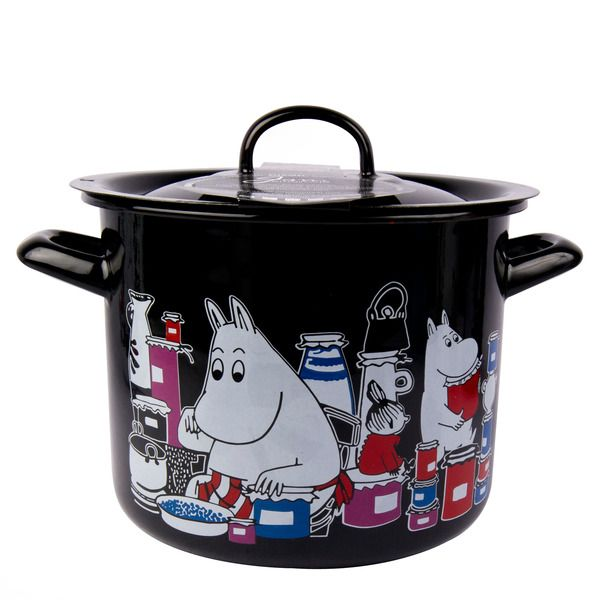 This black pot features characters from the Moominvalley. The pot is suitable for use in the kitchen. The enamel surface is extremely durable.