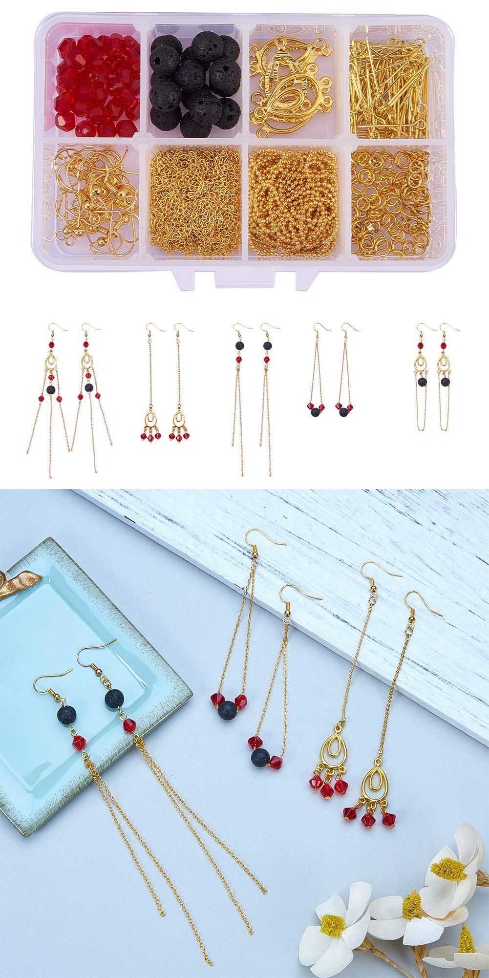 Photo of SUNNYCLUE 1 Box DIY 10 Pairs Golden Natural Lava Stone Jewelry Making Kits Rock Long Chain Tassel Dangle Drop Earring Making Starter Kit for Beginners