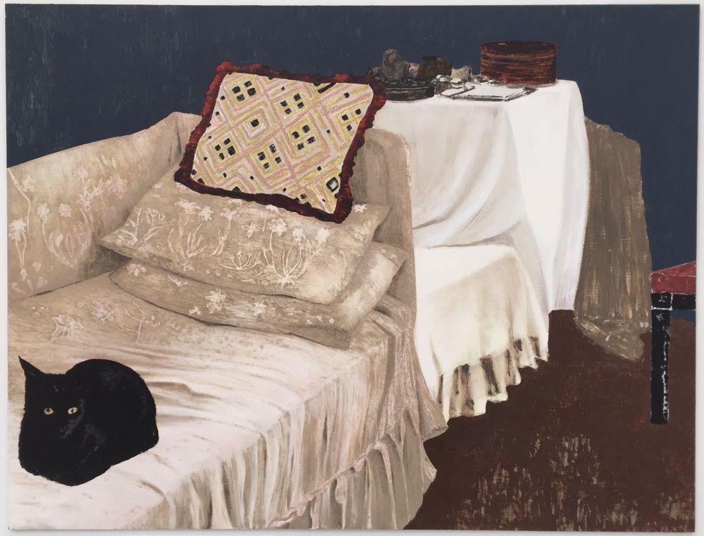 "thunderstruck9:  ""Mamma Andersson (Swedish, b. 1962), Lyckokatt [Lucky Cat], 2014. Oil on panel, 121.6 x 160 cm.  """