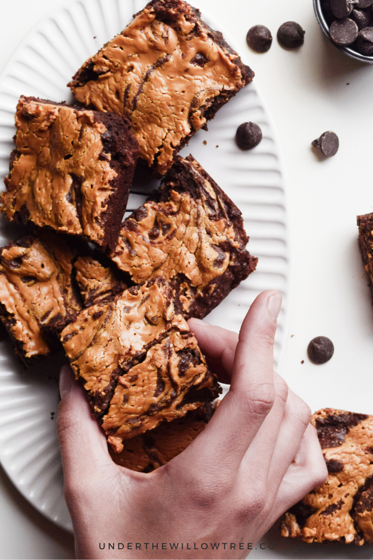 Not only are these Peanut Butter Brownies fudgy, decadent, and tasty, they're also Vegan, Gluten-