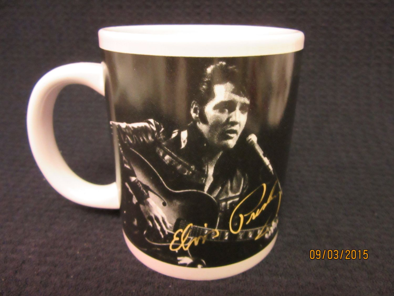 1a7b605bbd8 Elvis Presley Mug,Photo Cup Black and white signature in Yellow by  PorcelainChinaArt on Etsy