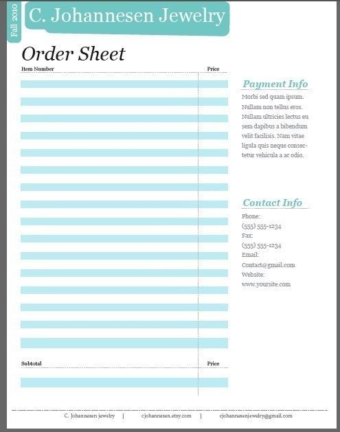 DIY Line Sheet Template Promote Your Business to by Cjohannesen