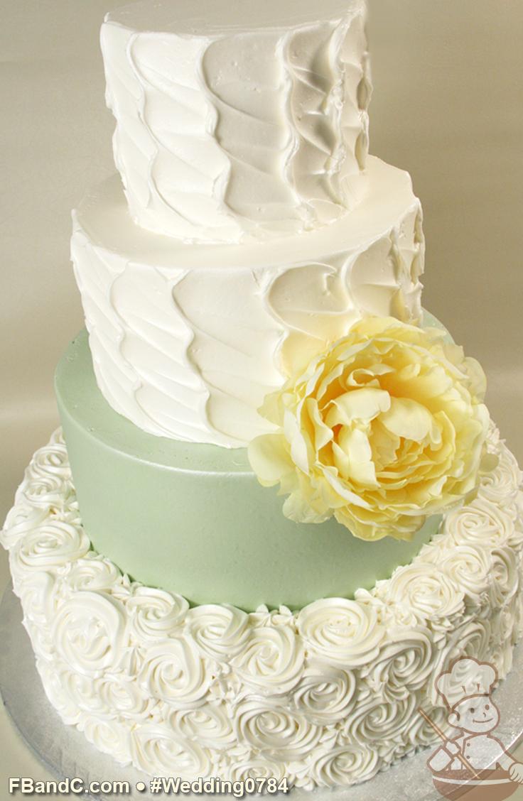 "Design W 0784 Butter Cream Wedding Cake 16""+12""+9""+6"