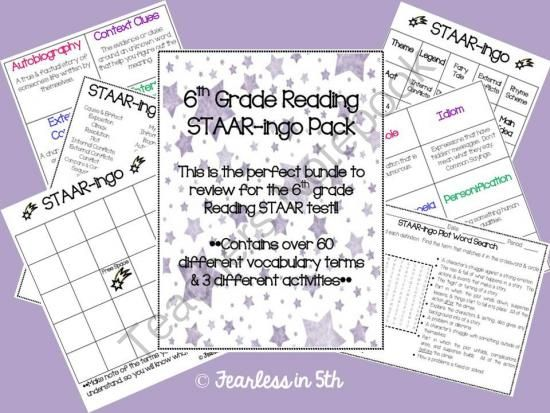 6th Grade Reading STAAR-ingo Pack from Fearless in 5th on ...
