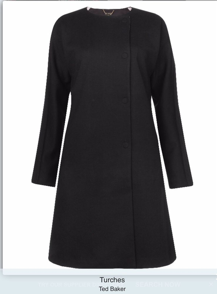 58ffdf4a949ba Ted Baker Turches coat Size 3 (12 14) Black With Pink Lining New ...