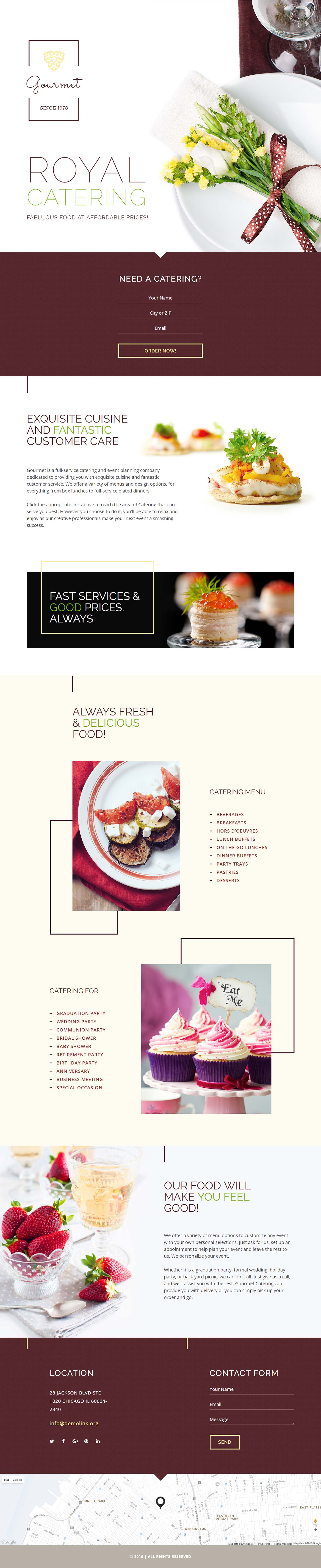 Lpo Template Royal Catering Landing Page Template On Behance  Landing Page .
