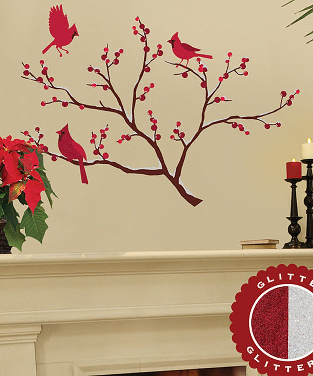 Glitter Cardinals Branches Wall Decal Set Wall Decals Cherry Blossom Branch Christmas Decals Pretty Wall Art