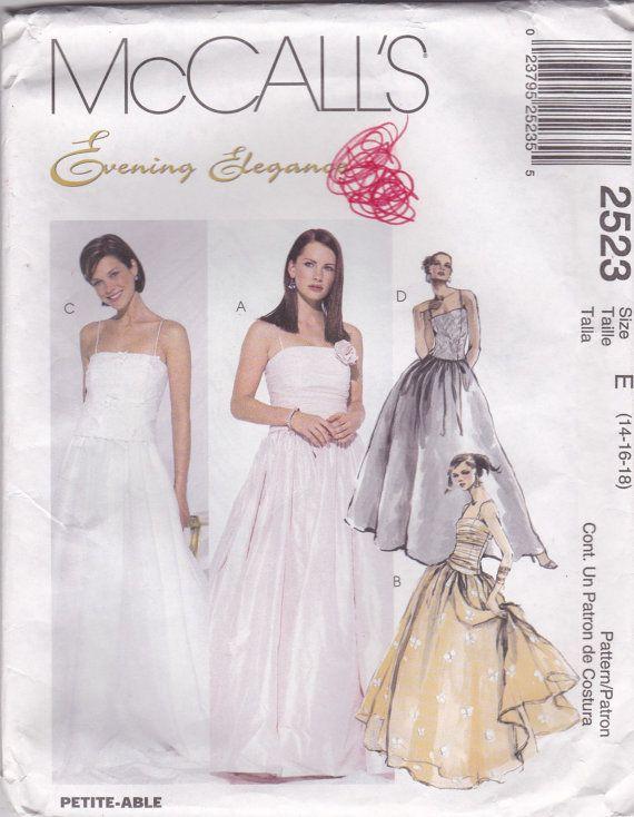Prom Dress Pattern McCalls 2523 Sizes 14 16 18 Uncut   Patterns ...