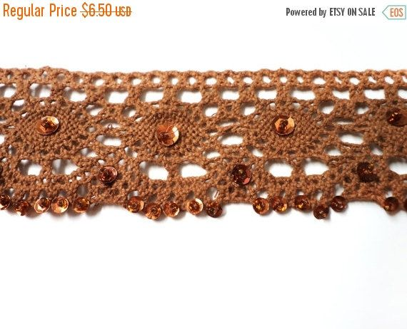 ON SALE 2 YARDS of Brown Camel Crochet Lace Trim Ribbon with Gold Sequins 1.4'' for Crafts, Sewing , Accessories