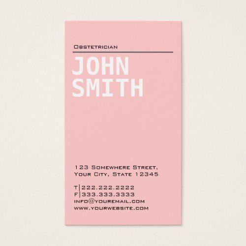 Plain Pink Obstetrician Business Card