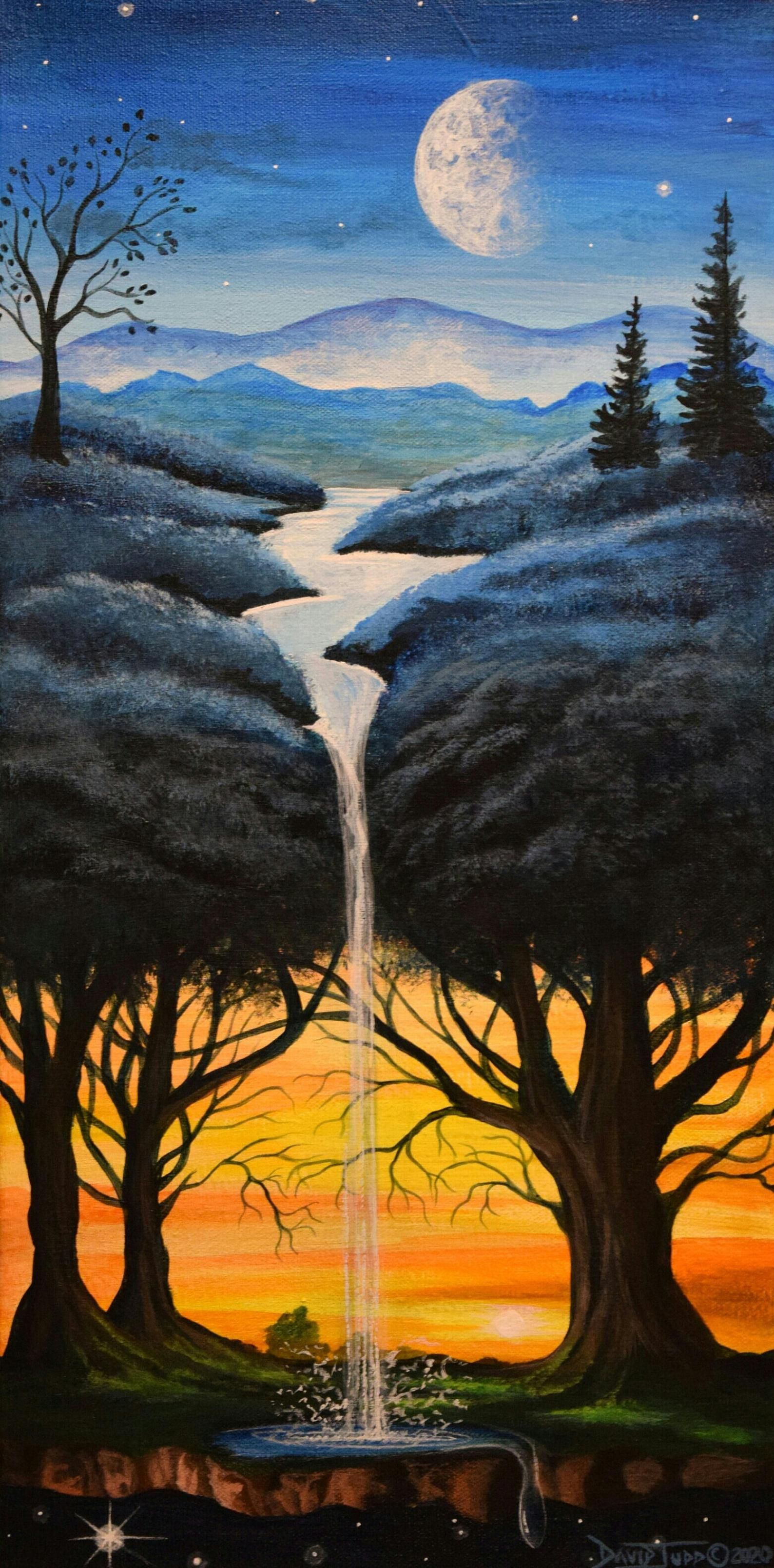 Original Surreal Painted Canvas Wall Hanging With Blue Tree And Orange Sunset 10x20 Surrealist Art Fantasy Art Canvas By David Judd Surreal Art Painting Surrealism Painting Nature Art Painting