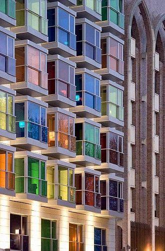 Arco iris.  Use of color on the facade | Hotel Hesperia located at Bilbao, Bizkaia, Spain by IA+B Arkitektura (Photo: © Aitor Ortiz)