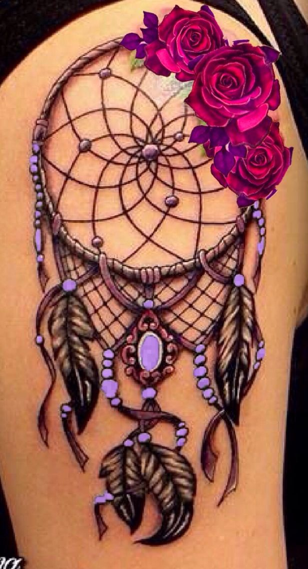 Dream Catcher Tattoo On Thigh Simple Left Hip #unique_Rose_Tattoo  Popular Pins  Pinterest  Rose Inspiration Design